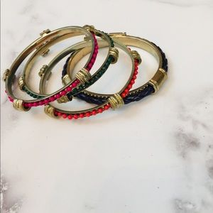 Jewelry - Four piece multi-colored beaded & gold bangle set